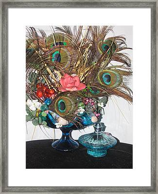 Peacock Feather Center Piece In Blue Glass Framed Print by HollyWood Creation By linda zanini