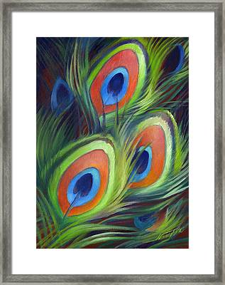 Peacock Feathers Framed Print by Nancy Tilles