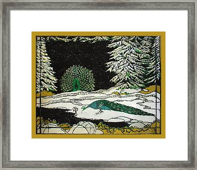 Peacocks In The Snow Framed Print