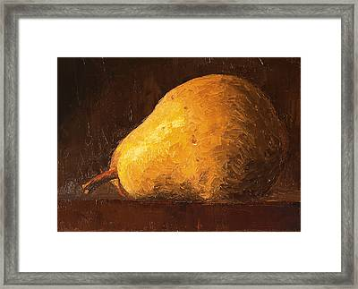 Pear By Knife Framed Print
