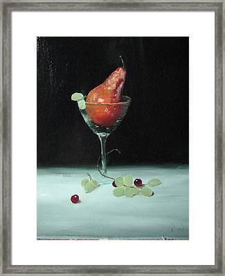 Pear In Martini Glass Framed Print by Iris Nazario Dziadul