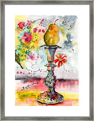 Pear On Candle Stick Framed Print