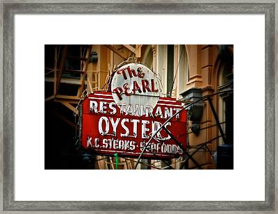 Pearl Restaurant Sign Framed Print