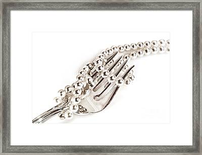 Pearls And Silver Framed Print