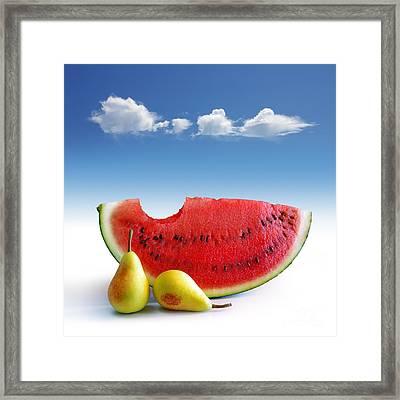 Pears And Melon Framed Print by Carlos Caetano