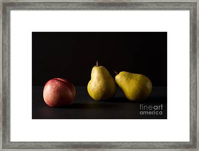 Pears And Peach Framed Print by Catherine Lau