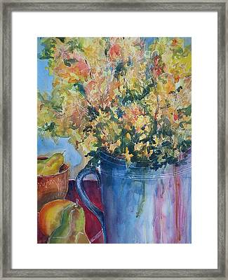 Pears And Petals Framed Print by Sandy Collier