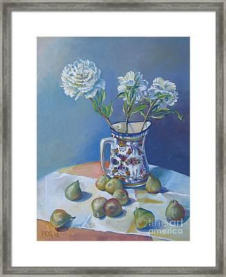 pears and Talavera table pitcher Framed Print by Vanessa Hadady BFA MA