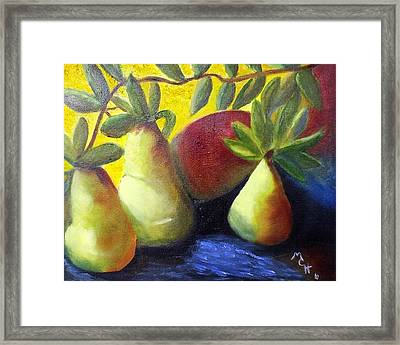 Framed Print featuring the painting Pears In Sunshine by Margaret Harmon