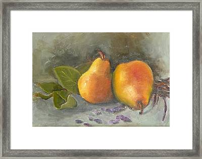 Pears Leaves And Petals Framed Print