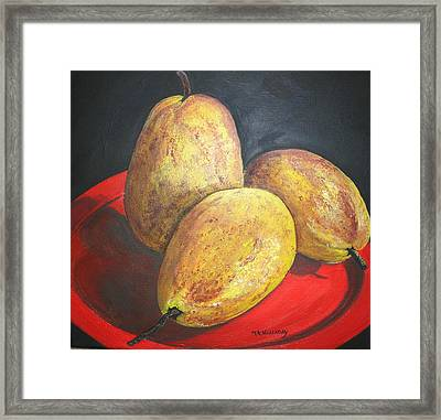 Pears On Red Plate Framed Print