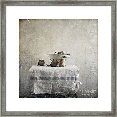 Pears Under Grunge Framed Print by Paul Grand