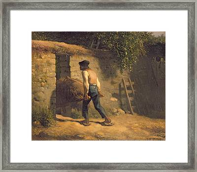 Peasant With A Wheelbarrow Framed Print by Jean-Francois Millet
