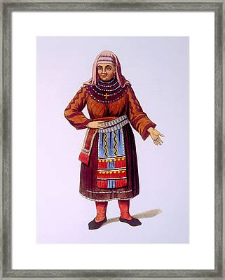 Peasant Woman Of Finland. Hand-colored Framed Print by Everett