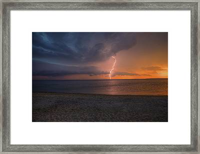 Peconic Bay Lightening Framed Print