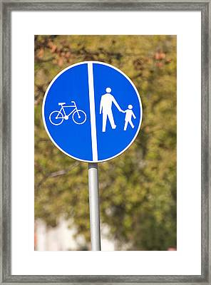 Pedestrian And Bicycle Crossing Sign. Framed Print by Fernando Barozza