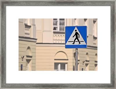 Pedestrian Crossing Sign. Framed Print by Fernando Barozza