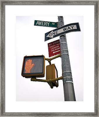Pedestrian Crossing Sign Framed Print by Snap Decision