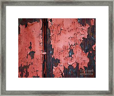 Peeling Red Paint Framed Print by Gwyn Newcombe