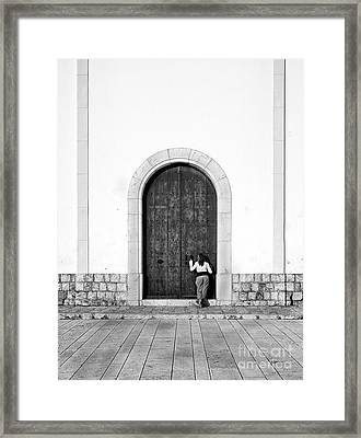 Peeping Girl Framed Print by Trevor Sollars
