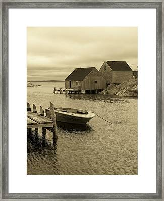 Peggys Cove In Sepia Framed Print by Richard Bryce and Family