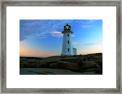 Peggy's Cove Lighthouse At Sunrise Framed Print