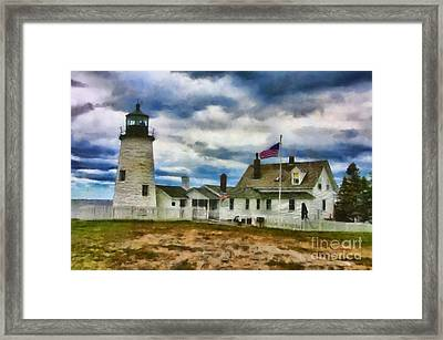 Pemaquid Point Lighthouse In Maine Framed Print by Mary Warner