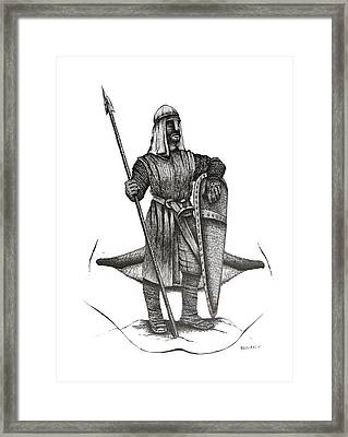 Pen And Ink Drawing Of The Guardian Framed Print by Mario Perez