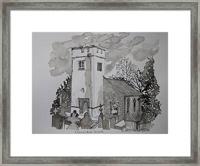 Pen And Ink-llanarthne Church-01 Framed Print by Pat Bullen-Whatling