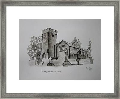 Pen And Ink-llangathen Church-01 Framed Print by Pat Bullen-Whatling