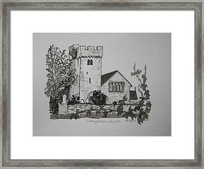 Pen And Ink-llangathen Church-02 Framed Print by Pat Bullen-Whatling