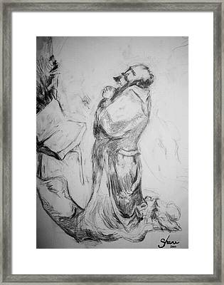 Pencil Of Praying Through The Ages Framed Print by Bruce Shane