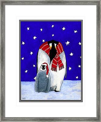 Penguin's First Christmas Framed Print by Marla Saville