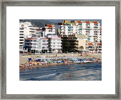 Peniscola Beach By Mediterranean Sea In Spain Framed Print