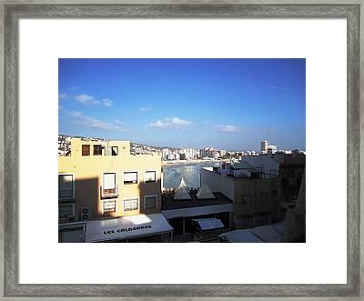 Peniscola Beach Ocean View From High Above In Mediterranean Sea II Spain Framed Print