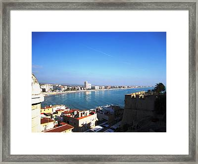 Peniscola Beach Panoramic View Water Reflection At The Mediterranean Water Front Homes In Spain Framed Print