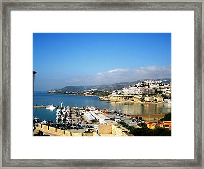 Peniscola Marina Water Reflection Sea View At The Mediterranean Water Front Homes In Spain Framed Print
