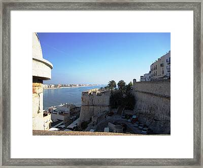 Peniscola Panoramic View At The Mediterranean Sea In Spain Framed Print