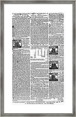 Pennsylvania Gazette, C1749 Framed Print by Granger