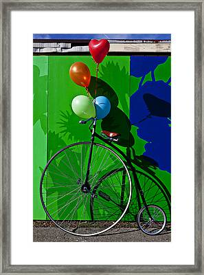 Penny Farthing And Balloons Framed Print