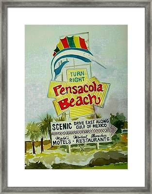 Pensacola Beach Sign Framed Print by Richard Willows