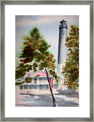 Framed Print featuring the painting Pensacola Light by Richard Willows