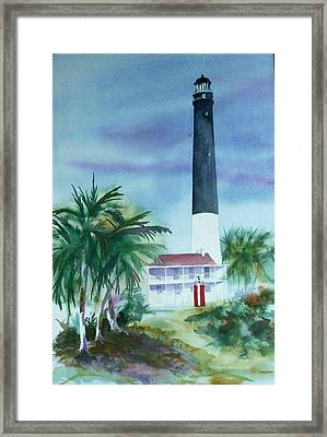 Framed Print featuring the painting Pensacola Lighthouse by Richard Willows