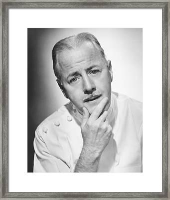 Pensive Doctor Posing In Studio, (b&w), Portrait Framed Print by George Marks