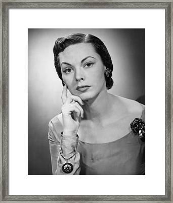 Pensive Woman Posing In Studio, (b&w), Portrait Framed Print by George Marks