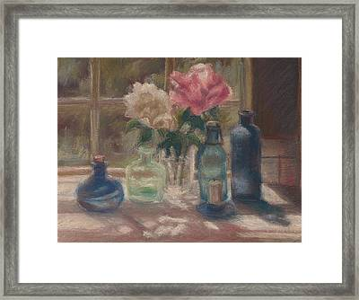 Peonies And Bottles Framed Print by Rita Bentley