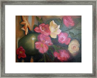 Peonies And Starfish Framed Print by Julliette Salter