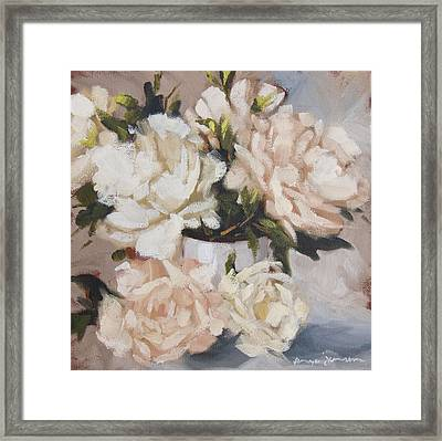 Peonies In White Vase Framed Print