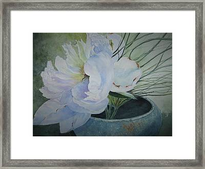 Peony And Grass Framed Print