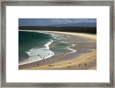 People Enjoy Broulee Beach Near Tomakin Framed Print by Simon Foale